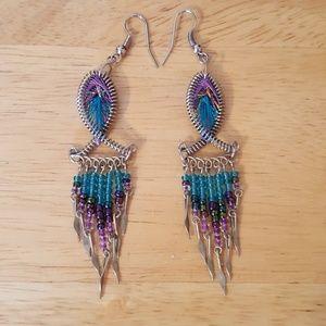 Jewelry - Boho spiral metal, string, bead earrings EUC